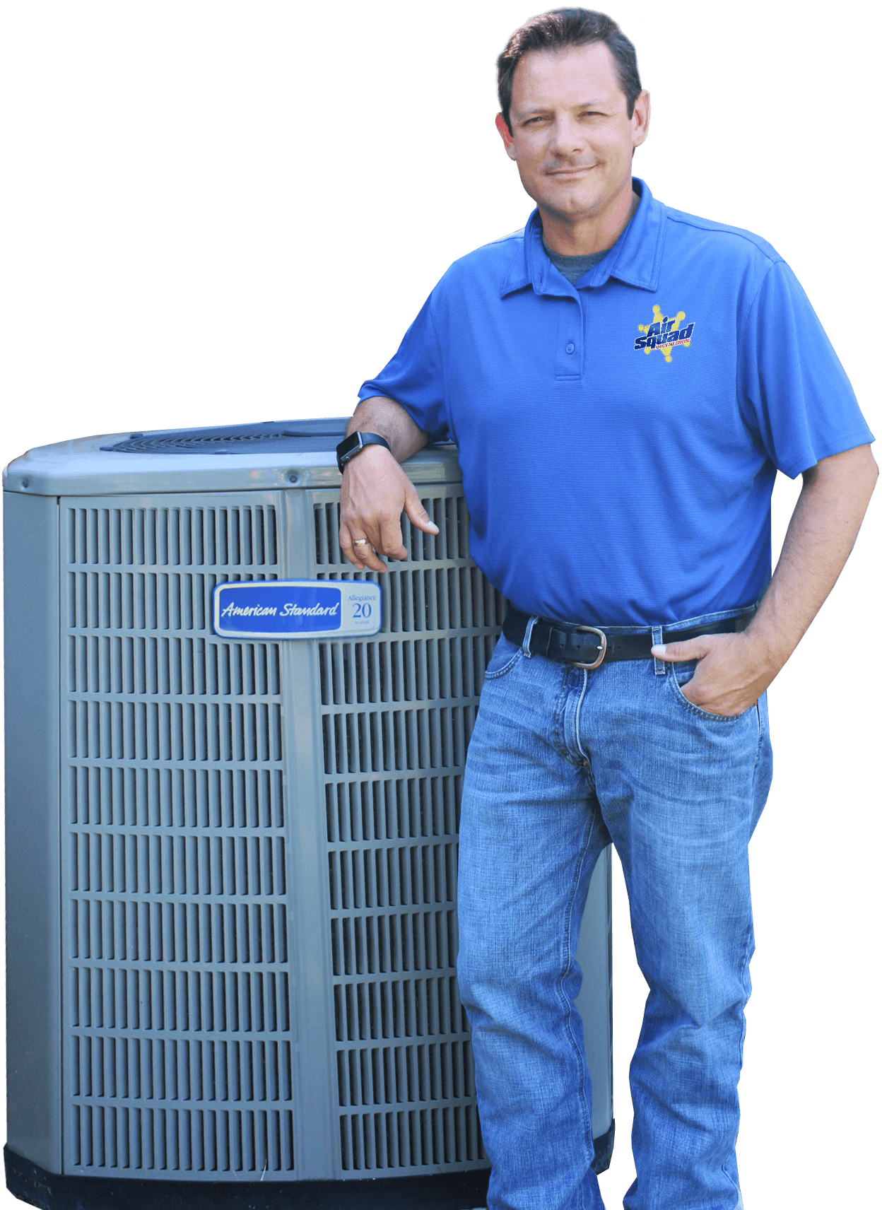 Owner Richard leaning on an AC unit.